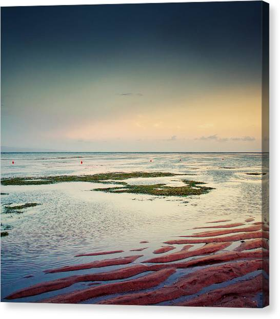 Low Tide Canvas Print - Tidal Flats At Sunset In Sanur, Bali by Dirk Wüstenhagen Imagery