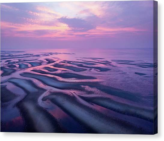Tidal Flats Sunset Canvas Print