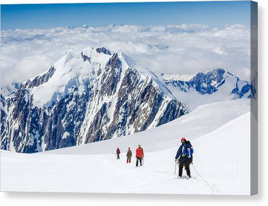 Rope Canvas Print - Tied Climbers Climbing Mountain With by Olga Danylenko