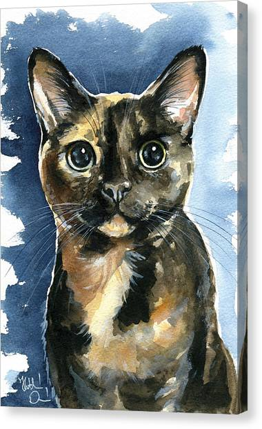 Tiffany Tortoiseshell Cat Painting Canvas Print