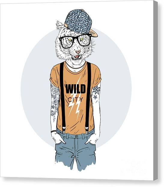 Necklace Canvas Print - Tiger Man Hipster Dressed Up In Cool by Olga angelloz