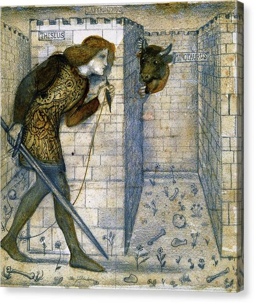 Apparition Canvas Print - Tile Design - Theseus And The Minotaur In The Labyrinth by Edward Burne-Jones
