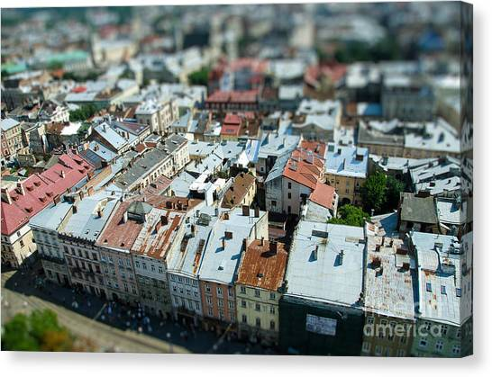 Church Canvas Print - Tilt Shift  Lviv Town Roof In Ukraine by Andy pol