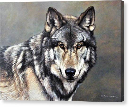Canvas Print featuring the painting Timber Wolf By Alan M Hunt by Alan M Hunt