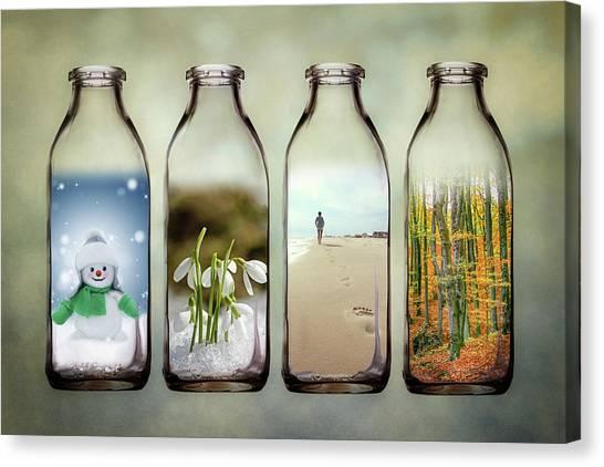 Sandy Beach Canvas Print - Time In A Bottle - The Four Seasons by Tom Mc Nemar