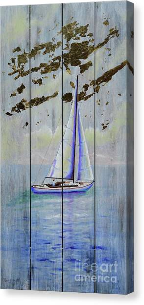 Canvas Print featuring the painting Time To Sail by Mary Scott
