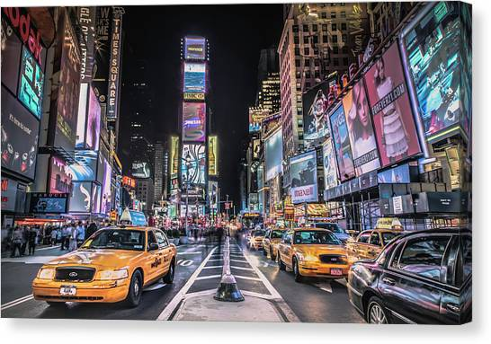 Times Square At Night With Famous Nyc Canvas Print by Ed Norton