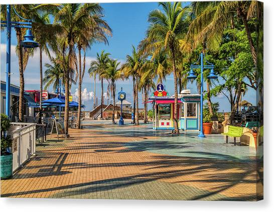 Florida Canvas Print - Times Square In Fort Myers Beach Florida by Tom Mc Nemar