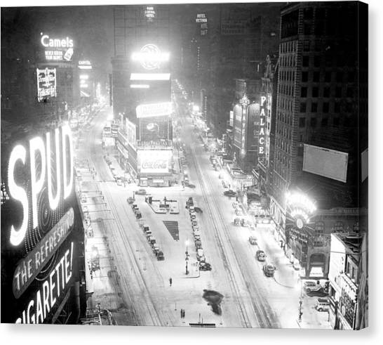 Times Square Is Covered In A White Canvas Print