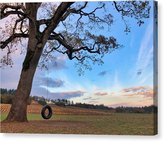 Tire Swing Tree Canvas Print