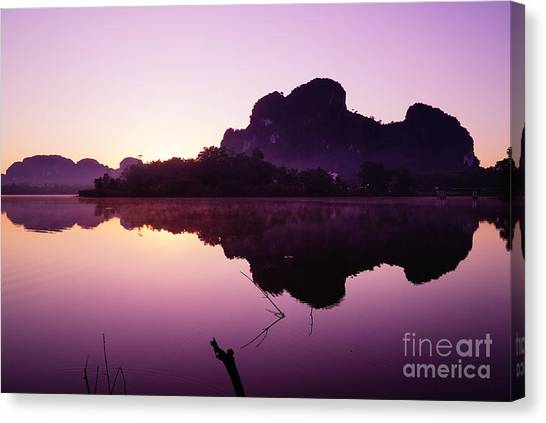 Title  The Peaceful Mountain Canvas Print by Pk Kaew