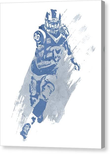 Los Angeles Rams Canvas Print - Todd Gurley Los Angeles Rams Water Color Pixel Art 22 by Joe Hamilton
