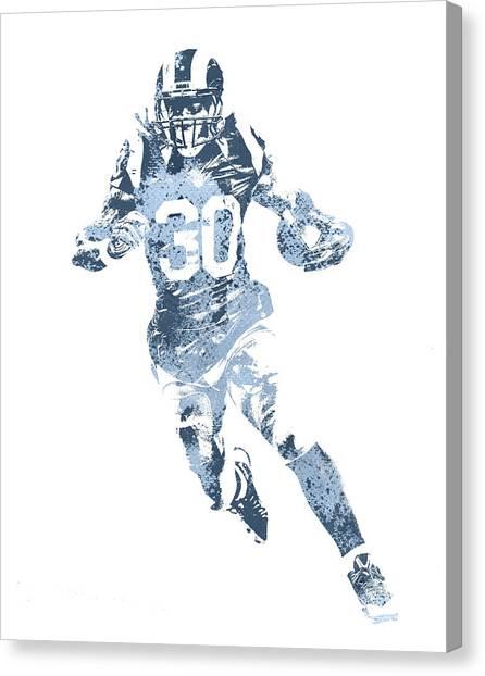 Los Angeles Rams Canvas Print - Todd Gurley Los Angeles Rams Water Color Pixel Art 30 by Joe Hamilton