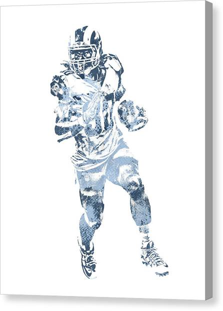 Los Angeles Rams Canvas Print - Todd Gurley Los Angeles Rams Water Color Pixel Art 31 by Joe Hamilton
