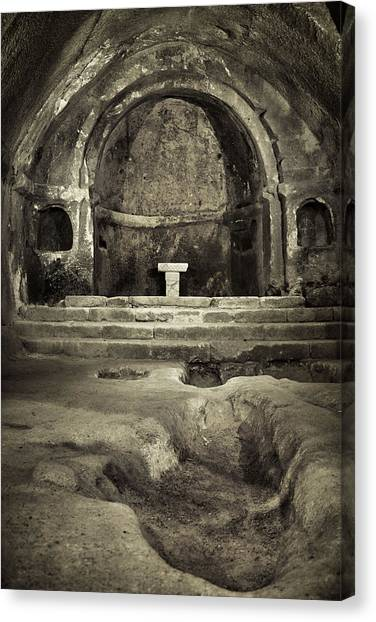 Tomb And Altar In The Monastery Of San Pedro De Rocas Canvas Print