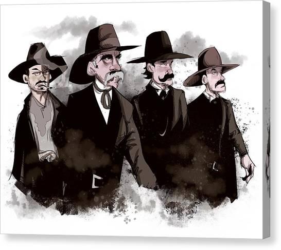 Cowboy Canvas Print - Tombstone by Ludwig Van Bacon