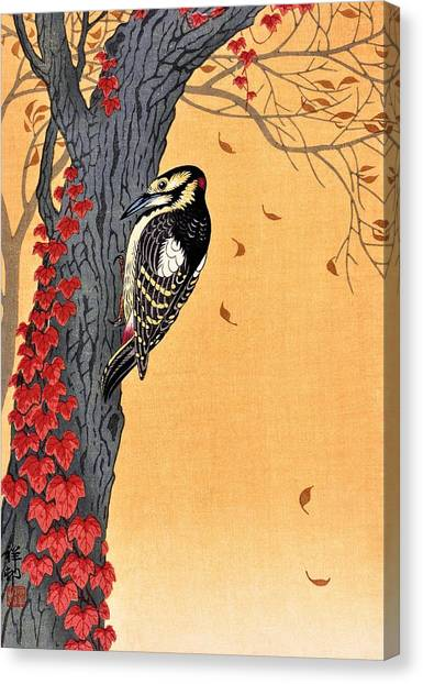 Woodpeckers Canvas Print - Top Quality Art - Great Spotted Woodpecker by Ohara Koson