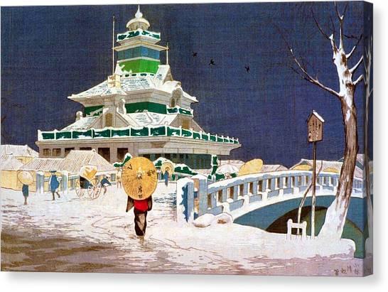 Snow Bank Canvas Print - Top Quality Art - Kaiun Bridge by Kobayashi Kiyochika