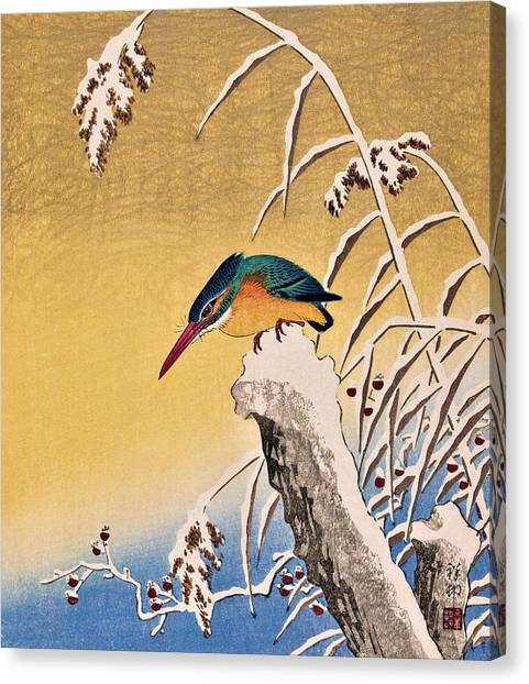 Kingfisher Canvas Print - Top Quality Art - Kingfisher In Snow by Ohara Koson