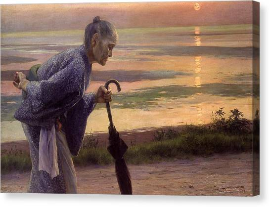 Ocean Sunsets Canvas Print - Top Quality Art - Old Woman by Wada Eisaku
