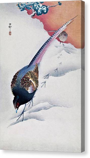 Pheasants Canvas Print - Top Quality Art - Snow And Pheasant by Ohara Koson