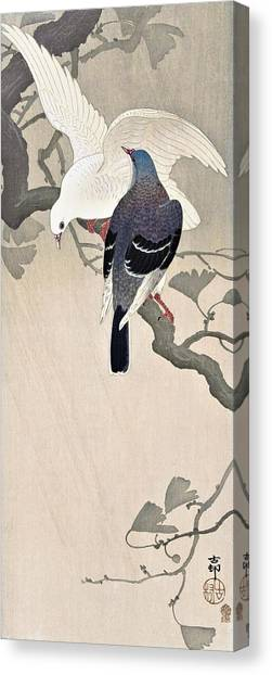 Pigeons Canvas Print - Top Quality Art - Two Dove by Ohara Koson