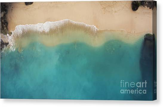 Sandy Beach Canvas Print - Top View Aerial Photo From Flying Drone by Gaudilab