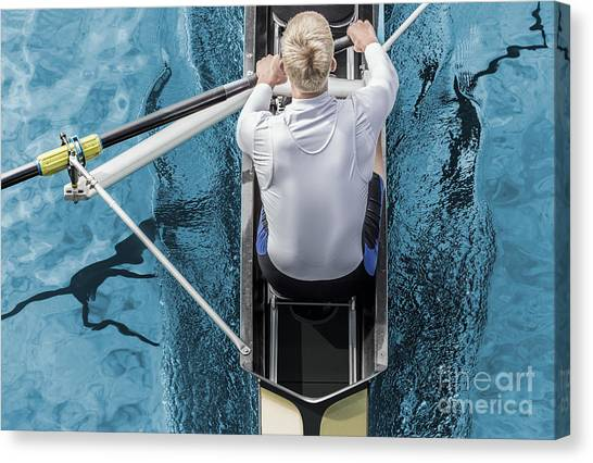 Canoe Canvas Print - Top View Of Athletic Competition Rower by Mezzotint