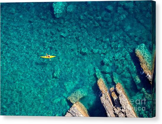 Canoe Canvas Print - Top View Of Kayak Boat Oin Shallow by Mikhail Varentsov