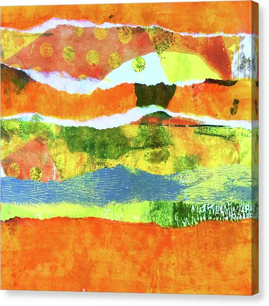 Torn Paper Collage Canvas Print - Torn Landscape 1 -- Abstract Art by Nancy Merkle