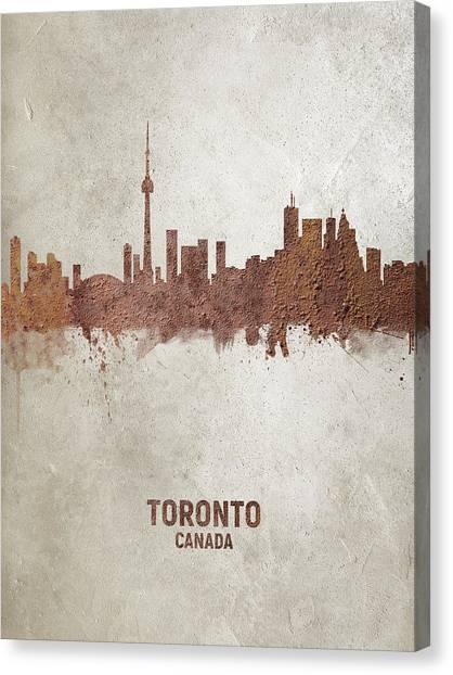 Toronto Skyline Canvas Print - Toronto Canada Rust Skyline by Michael Tompsett