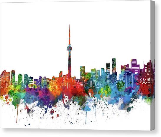 Toronto Skyline Canvas Print - Toronto City Skyline Watercolor by Bekim Art
