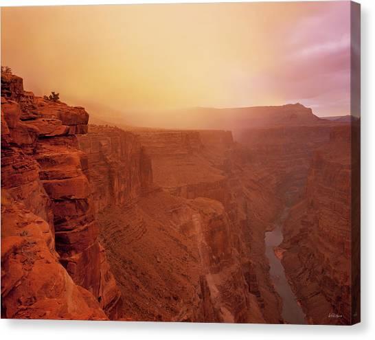 Toroweap Overlook Storm Sunrise Canvas Print by Leland D Howard