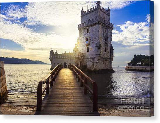 Medieval Canvas Print - Torre De Belem - Famous Landmark Of by Leoks