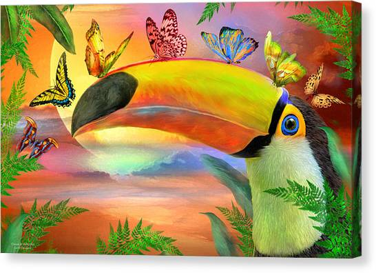 Canvas Print featuring the mixed media Toucan And Butterflies by Carol Cavalaris