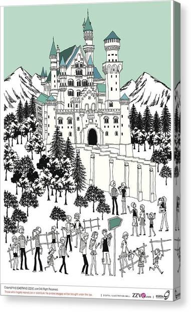 Tourist By Castle On Snow-covered Land Canvas Print by Eastnine Inc.