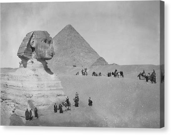 Tourists At Giza Canvas Print by Topical Press Agency