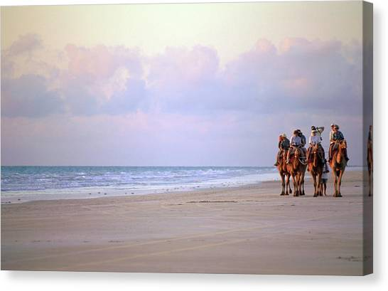 Tourists Riding Camels On The Beach Canvas Print