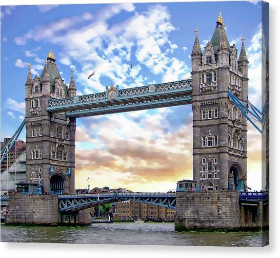 Canvas Print featuring the photograph Tower Bridge by Anthony Dezenzio