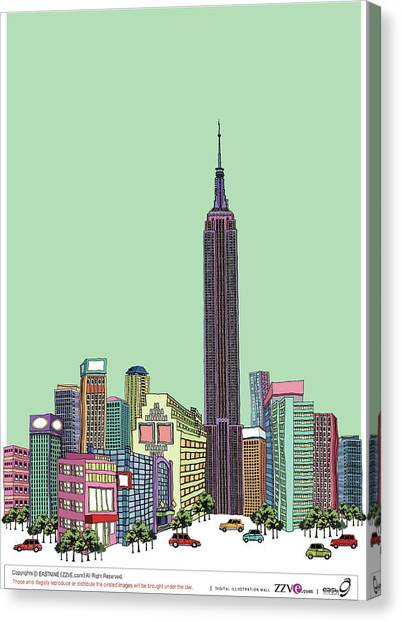 Tower With Buildings Against Clear Sky Canvas Print by Eastnine Inc.