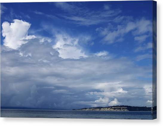 Towering Over Double Bluff Canvas Print by Tom Trimbath