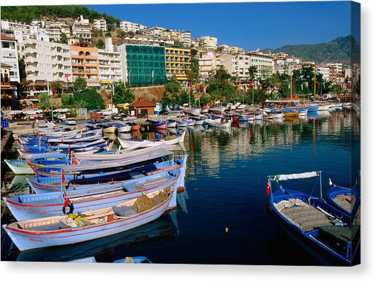Town Buildings And Marina Boats Canvas Print