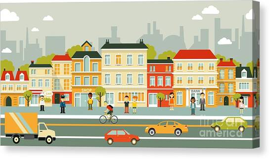 Urban Life Canvas Print - Town City Street Panoramic Cityscape by Evellean