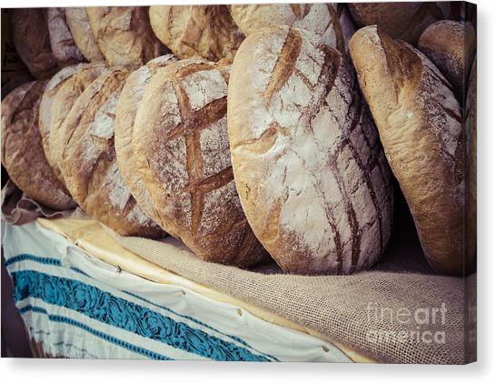 Basket Canvas Print - Traditional Bread In Polish Food Market by Curioso