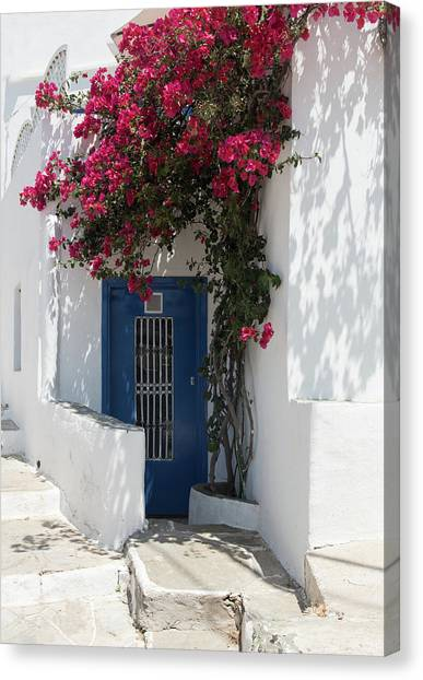 Traditional Greek Island House Entrance Canvas Print