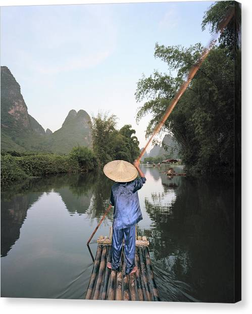 Traditional Raft On Yulong River Canvas Print