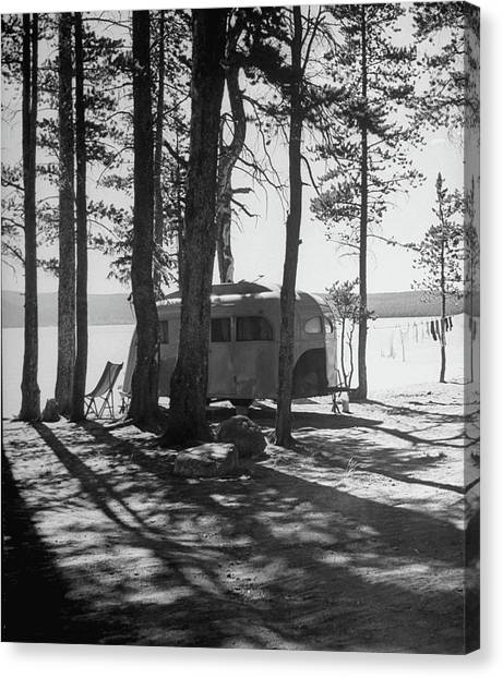 Trailer Park In Yellowstone National Canvas Print by Alfred Eisenstaedt