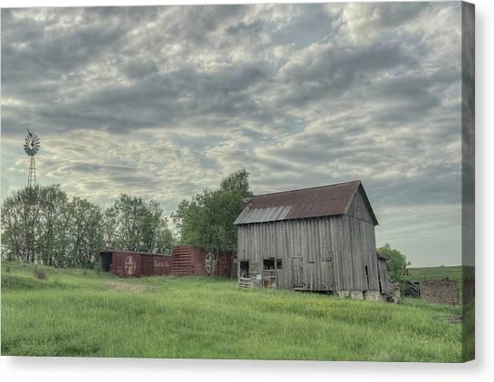 Train Cars And A Barn Canvas Print