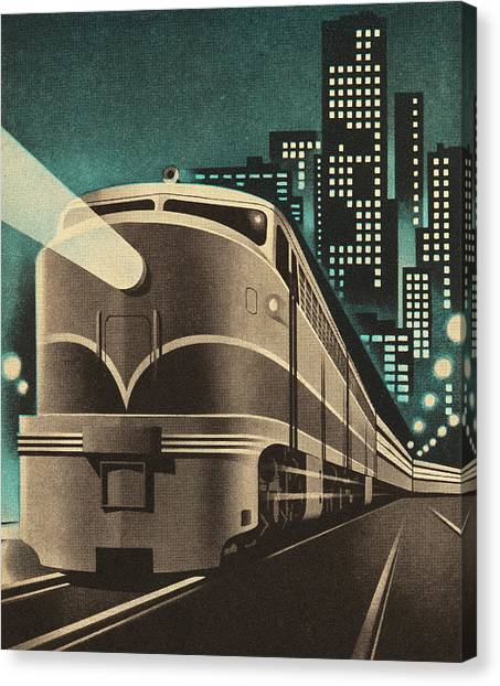 Train Leaving City Canvas Print