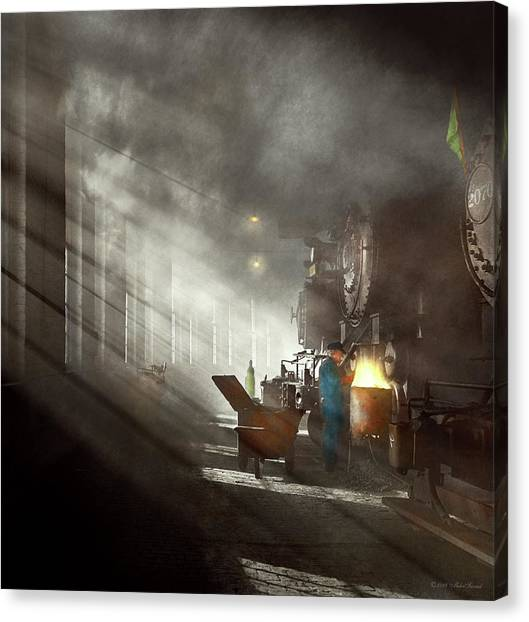 Canvas Print featuring the photograph Train - Repair - Smoking Section 1942 by Mike Savad
